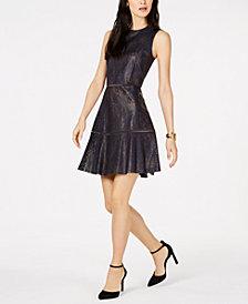 MICHAEL Michael Kors Floral-Lasercut Faux-Leather Dress