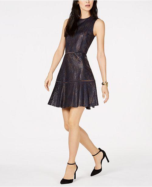 b46e833cc13 Michael Kors Floral-Lasercut Faux-Leather Dress   Reviews ...
