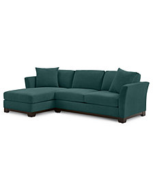 """Elliot II 107"""" 2-Pc. Fabric Reversible Chaise Sectional Apartment Sofa - Custom Colors, Created for Macy's"""