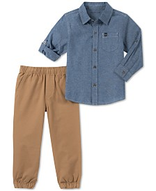 Calvin Klein Toddler Boys 2-Pc. Chambray Cotton Shirt & Joggers Set