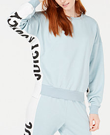 Juicy Couture Logo Side-Panel Terry Pullover Top