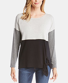 Karen Kane Colorblocked Tie-Hem Top
