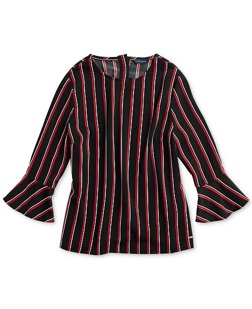 2db3db4bc0 Tommy Hilfiger Women s Matcha Stripe Top with Magnetic Closures ...