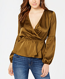 GUESS Lyndi Satin Peplum Top