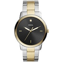 Fossil Mens Minimalist Carbon Series Diamond Two-Tone Watch