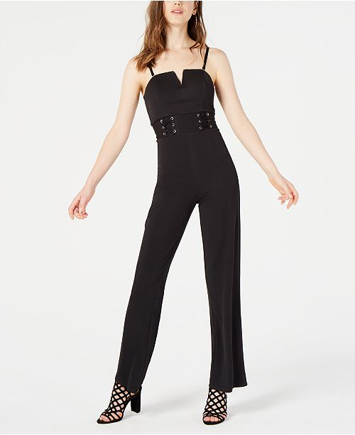 Material Girl Juniors' Lace-Up Jumpsuit, Created for Macy's