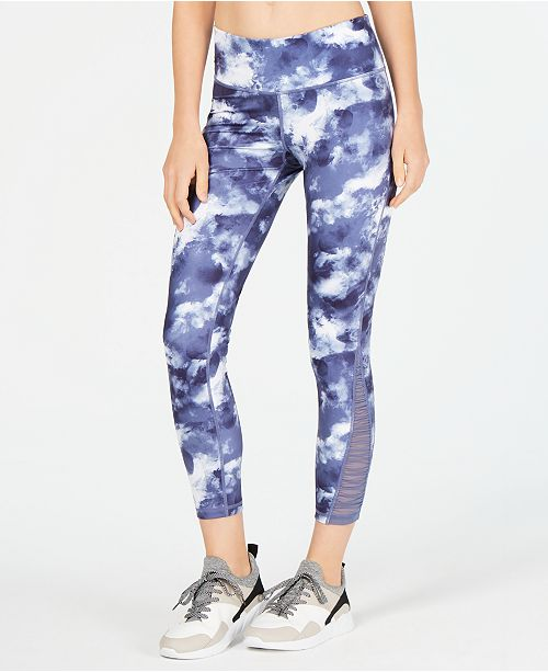 Ideology Printed Mesh-Inset Ankle Leggings, Created for Macy's