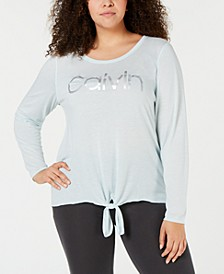 Plus Size Knot-Front Long-Sleeve T-Shirt