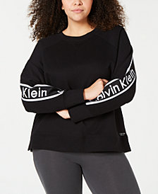 Calvin Klein Performance Plus Size Logo-Tape Top