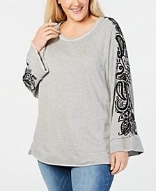 Trendy Plus Size  Swing Top with Flocked Velvet Trim