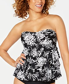 Island Escape Playa Escondida Printed Three-Tiered Bandeau Tankini Top, Created for Macy's