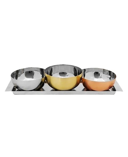 Classic Touch set of 3 Assorted Colored Bowls with Serving Tray