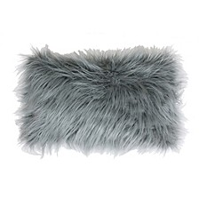 "Keller Faux Mongolian Reverse To Micromink Pillow, 20"" x 12"""