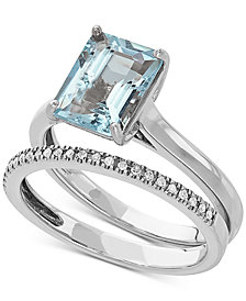 Love Rocks Bridal Aquamarine (2-1/10 ct. t.w) & Diamond (1/8 ct.t.w) Bridal Set in 14k White Gold