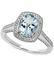Love Rocks Bridal Aquamarine (1-1/2 ct. t.w) & Diamond (1/4 ct. t.w) Ring in 14k White Gold
