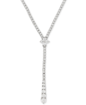 """Cubic Zirconia 17"""" Lariat Necklace in Sterling Silver"""