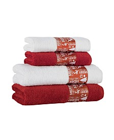 Enchante Home Merry Christmas Embellished Bath Towel Collection