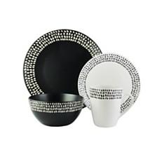 American Atelier Aylin Black and White 16 PC Dinnerware Set