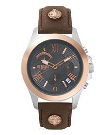 Versus Men's Chronograph Lion Extension Brown Leather Strap Watch 44mm