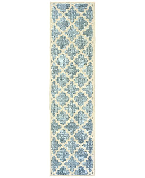 "Oriental Weavers Barbados 6437J Blue/Ivory 1'10"" x 7'6"" Indoor/Outdoor Runner Area Rug"