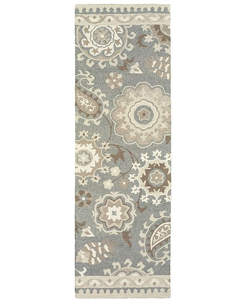 "Oriental Weavers Craft 93003 Gray/Sand 2'6"" x 8' Runner Area Rug"