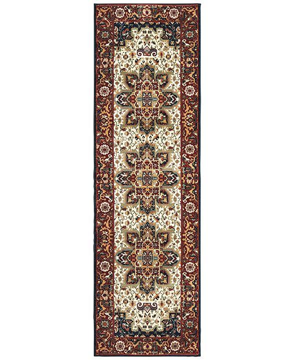 """Oriental Weavers Kashan 96W Red/Ivory 2'3"""" x 7'6"""" Runner Area Rug"""