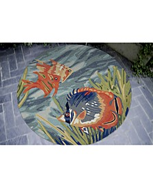 Ravella 2255 Tropical Fish Blue 8' Indoor/Outdoor Round Area Rug