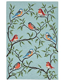 "Ravella 2270 Birds On Branches Blue 3'6"" x 5'6"" Indoor/Outdoor Area Rug"