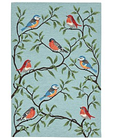 "Liora Manne' Ravella 2270 Birds On Branches Blue 7'6"" x 9'6"" Indoor/Outdoor Area Rug"