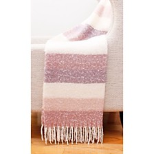 "Metilda Stripe Mohair Decorative Throw, 50"" x 60"""