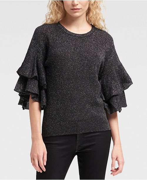 b0201b2d19f33a DKNY Ruffle-Sleeve Sweater   Reviews - Women - Macy s