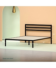 Steel 1500H Platform Bed Frame- Strong Wood Slat Support