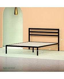 Zinus Steel 1500H Platform Bed Frame- Strong Wood Slat Support, Queen