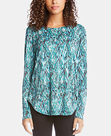 Karen Kane Printed Shirttail Long-Sleeve Top
