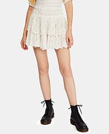 Free People Cotton Eyelet-Ruffle Mini Skirt