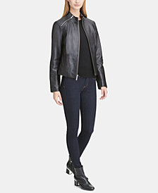 DKNY Leather Moto Jacket, Created for Macy's