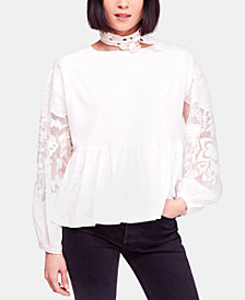 Free People Metallic-Embroidered Mesh Peplum Top