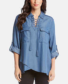 Karen Kane Lace-Up Crossover-Hem Top