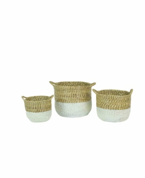 Kalalou White Dipped Seagrass Hampers w/Handles, Set of 3