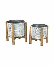 Kalalou Pressed Tin Planters w/ Wooden Bases, Set of 2