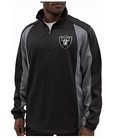 G-III Sports Men's Oakland Raiders Offsetting Penalty Quarter-Zip Pullover