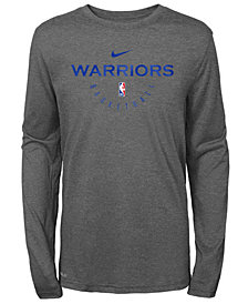 Nike Golden State Warriors Long Sleeve Practice T-Shirt, Big Boys (8-20)
