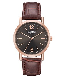 Unlisted Men's Brown Synthetic Leather Sport Watch, 36MM