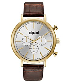 Men's Brown Synthetic Leather Sport Watch, 45MM