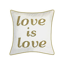"Edie@Home Celebrations Pillow Beaded ""Love Is Love"""