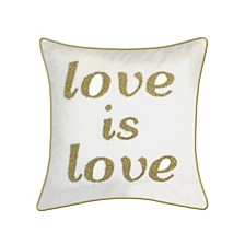 """Edie@Home Celebrations Pillow Beaded """"Love Is Love"""""""