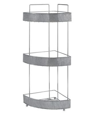 Bath Bliss 3 Tier Corner Bath Shelf in Pave Diamond Design
