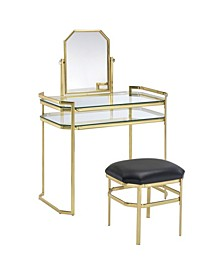 Ron Gold Vanity With Stool