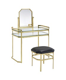 Ron Contemporary Vanity with Stool Set, Quick Ship
