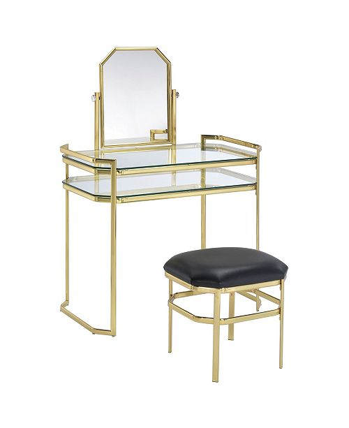 Furniture of America Ron Gold Vanity With Stool